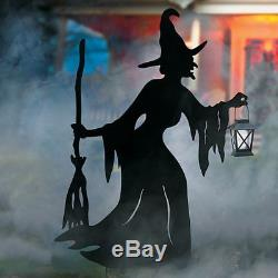 Halloween Metal Witch Silhouette with Solar Lantern Outdoor Yard Decoration Prop
