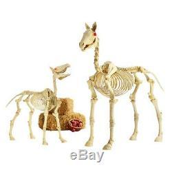 Halloween Props Life Size Decor 6 Ft Horse Skeleton Lighted Eyes Sounds Lights
