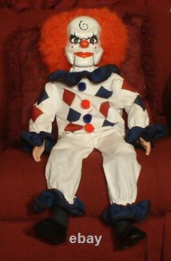 Haunted Ventriloquist Clown Doll EYES FOLLOW YOU Creepy Dead Silence prop OOAK