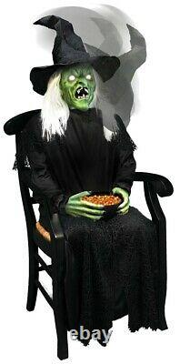 In stock HALLOWEEN ANIMATED WITCH HOLDING CANDY BOWL PROP DECOR
