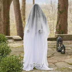 Life Size Animated Ghost Woman Scary Lighted Halloween Decoration Posable Prop