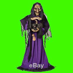 Life Size Animated-SCARY WITCH-BLACK CAT-Haunted House Halloween Prop Decoration