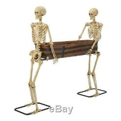 Life Size SKELETONS CARRYING COFFIN COOLER Halloween Prop HAUNTED Decor Bowl