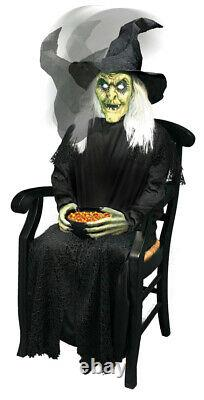 LifeSize Animated Jumping Sitting Witch Halloween Prop Haunted Decor Spirit Yard