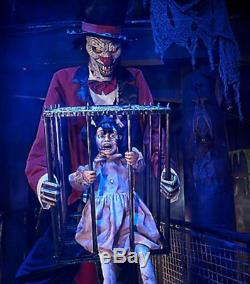 LifeSize Animated ROTTEN RINGMASTER CLOWN CAGED KID HALLOWEEN PROP Haunted Scary