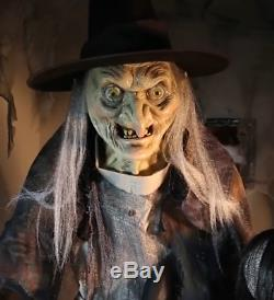 Lifesize Animated LUNGING HAGGARD TALKING WITCH halloween Prop Haunted House