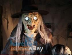 Lunging Haggard Witch Prop Animated Lifesize 6' Halloween Talking Haunted House
