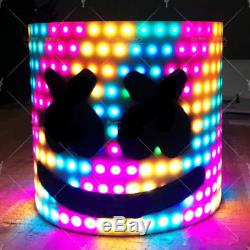 Marshmello DJ LED Mask Costume Music Props Helmet for Halloween Party Colorful