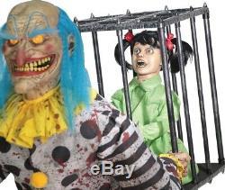 Mr. Happy Animated Prop Child in Cage Evil Creepy Clown Animatronic Halloween