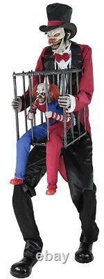 Nib Halloween Life Size Animatronic Rotten Ringmaster Clown Cage Prop Morbid