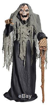 Pestilence Smoldering Reaper Animated Halloween Prop Haunted House Talking