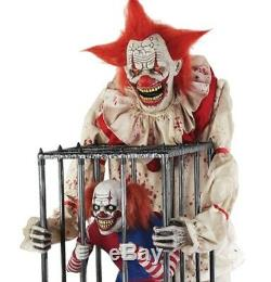 Pre-Order ANIMATED CAGEY THE CLOWN WITH CLOWN Halloween Prop FREE GIFT