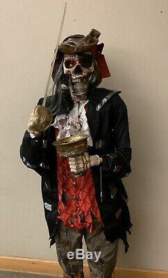 RARE-2007-6 Gemmy Pirate Dead Eye Drake Animated Ghoul Skeleton Halloween Prop