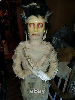 RARE working Gemmy Lifesize lady Mummy Bride AnimatRONIC talking Halloween Prop