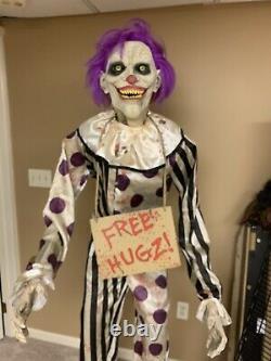 Rare 6 Ft Hugz the Clown Animatronic Spirit Halloween Scary Prop Tested
