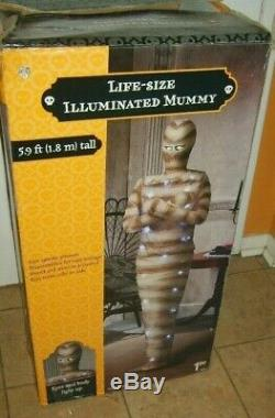 Rare GEMMY Halloween 6 FOOT MUMMY Life Size ANIMATED EYES LIGHTS UP PROP Boxed