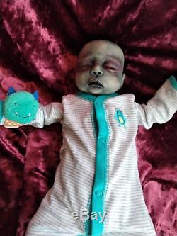 Rare Kit Reborn Zombie Baby Horror Doll, Halloween Prop, OOAK Collectible Art
