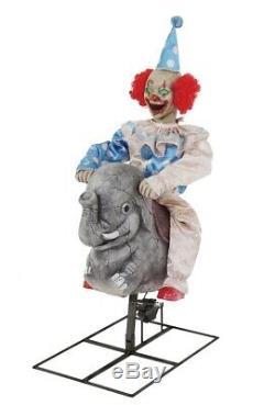 Rocking Elephant Clown Animated Prop Circus Carnival Halloween Decoration