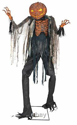 Scorched Scarecrow Animated 7' Prop Lifesize Pumpkin Haunted House Halloween
