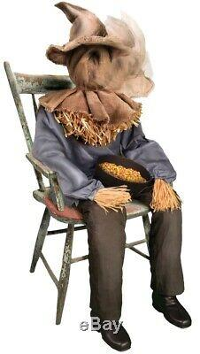 Sitting Scarecrow Animated Prop Porch Greeter Halloween Animatronic Lifesize