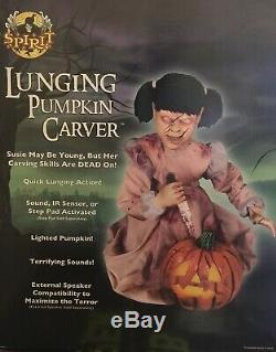 Spirit Halloween Lunging Pumpkin Carver Animated Jumping Halloween Prop