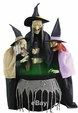 Stitch Witch Sisters Animated Prop 6ft Lifesize Halloween Haunted House Cauldron