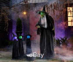 Talking Halloween Animated Witch 6ft Tall Life Size Prop LED Eyes Scary Laugh