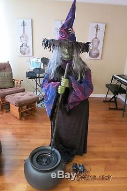 3 4 Plugs >> Very Rare Gemmy Halloween Life Size Animated Witch Fogging Cauldron Prop