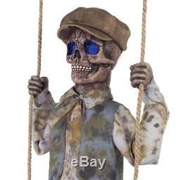 VIDEO! Animated Swinging Skeleton GHOST SPIRIT Boy OUTDOOR HALLOWEEN PROP HAUNT