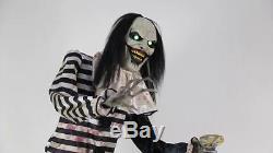 VIDEO LIFE SIZE 7' ANIMATED SWEET DREAMS CLOWN Kid Outdoor Halloween Spirit Prop